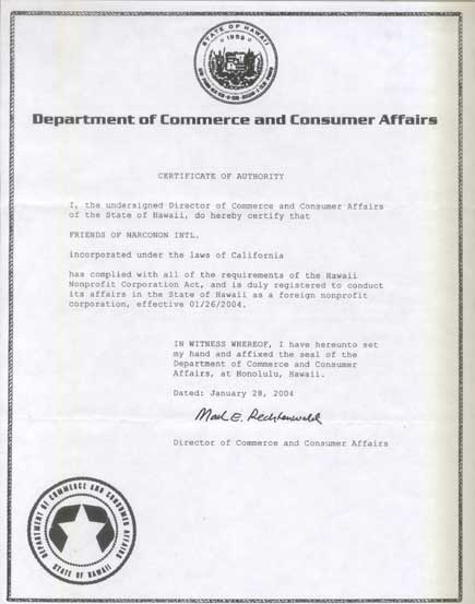 Certificate of Authority, Hawaii